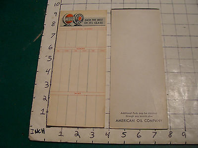 Vintage Paper: 11 early AMOCO-GAS AMERICAN GAS Score cards w globes at top
