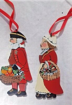 Nancy Thomas 2003 Signed Vintage Folk Art Tree Ornaments Mr. Mrs. Santa Claus