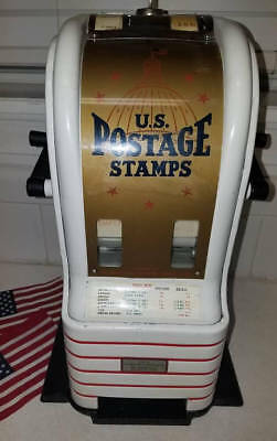 WW2 Art Deco Coin Operated Postage Stamp Machine Enameled Dounble Sided Working