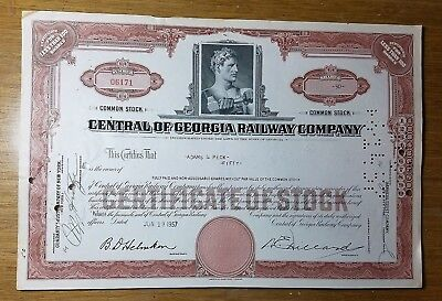 1957 Central of Georgia Railway Company Stock Certificate