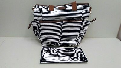 Diaper Bag By Hip Cub Canvas Navy and White W/ Change Pad - MT.B3