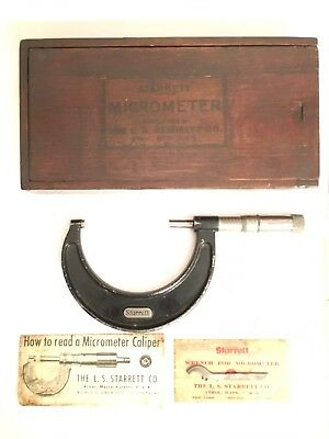 "Vintage L.S. Starrett No. 436 2-3"" Outside Micrometer With Original Wood Box USA"