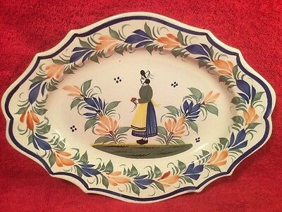 Antique Hand Painted Quimper Wall Platter c.1922+, ff643  GIFT QUALITY!!