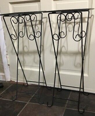 "Wrought Iron Black Patio Plant Stand Side Table 10"" Top Set of 2 NO TILES"