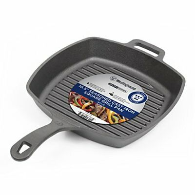 """Grill Fry Pan 10.5"""" Pre-Seasoned Cast Iron Square Cooking Skillet"""