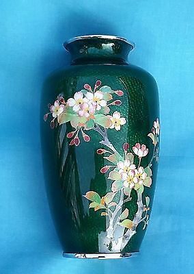 Japanese Apple Green Cloisonne  and Silver Floral Vase