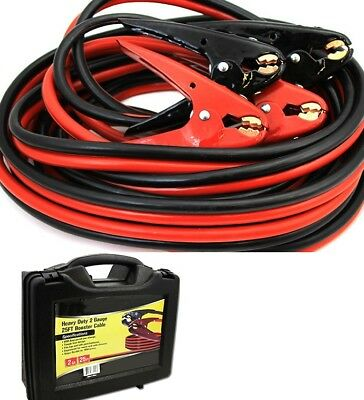 2 Gauge Booster Jumper Cables 25FT Heavy Duty Parrot Jaw Clamps Portable Case