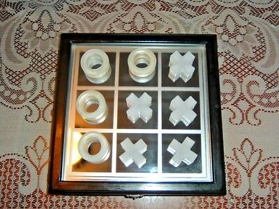 Tic-Tac-Toe Game w/ Case, Mirrored Board and Glass Pieces, Beautiful Condition