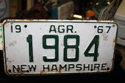 1967 New Hampshire License Plate Agriculture AGR. NH Low Four Digit 1984