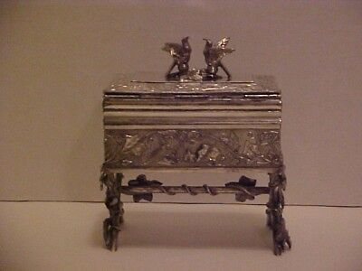 Figural Love Birds Rogers Silver Plate Aesthetic Jewelry Casket Box