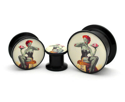 Pair of Black Acrylic Zombie Pinup Picture Plugs gauges 8g to 1 inch