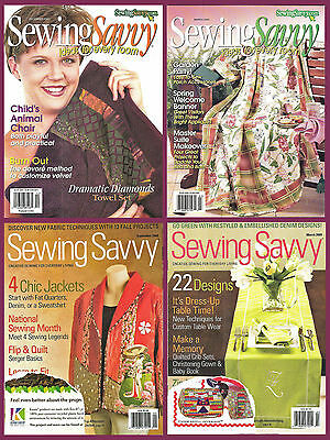 4 back issues: Sewing Savvy magazine; creative sewing for everyday living