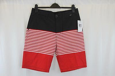 Mens Hurley Black Red Striped Board Shorts Size 32 New W Tags $49.50