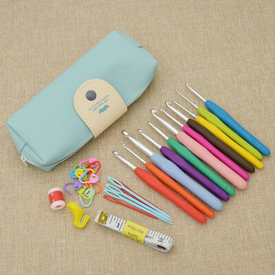 Ergonomic Grip Crochet Hooks Kit Yarn Knitting Needles Sew Tool Hand Craft Set