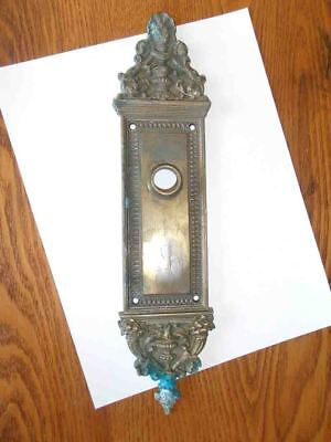 Antique Fabulous Ornate Victorian Solid Brass Door Plate late 1800's No Keyhole