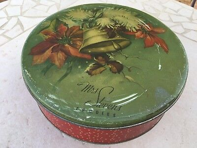 Mrs Steven's Candies Tin 5 LBS Candy Container CHRISTMAS BELL POINSETTIA Chicago
