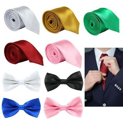 Classic Mens Slim Skinny Wedding Solid Plain Satin Neck Tie Bow Necktie Color UK