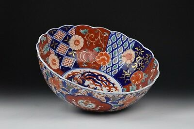 Large Japanese Meiji Period Imari Porcelain Bowl w. Flowers & Phoenix Bird