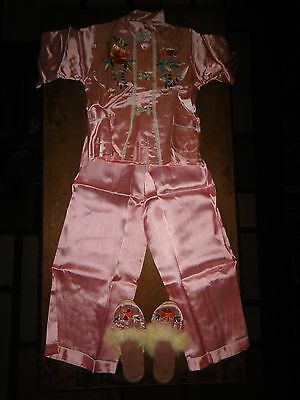 Antique Asian Embroidered Silk Doll Pajamas & Slipper Set Pink w/ Storage Box