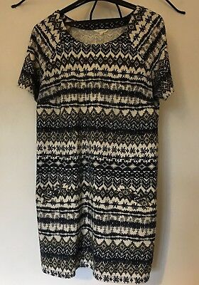Ladies White Stuff Navy,cream And Green Tunic Top Size 16 In Very Good Condition