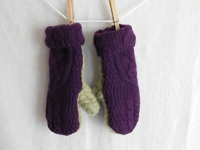 Handmade Wool Fleece Lined Mittens Upcycled Sweaters Purple Green