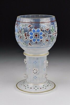 19th Century Enamel Painted Opalescent Art Glass Goblet / Chalice
