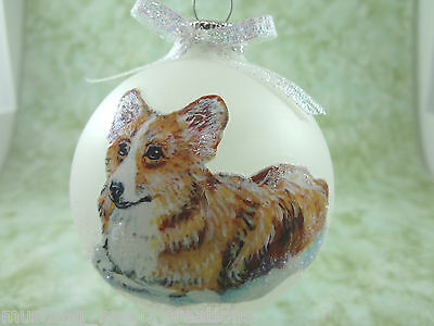 D022 Hand-made Christmas Ornament dog - Pembroke Welsh Corgi - red fawn laying