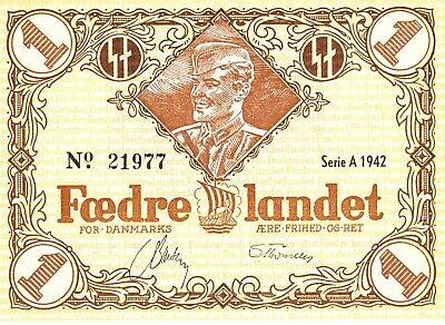 Currency Denmark 1942 WW2 Danish Legion Feldpost 1K War Era Occ Uncirculated
