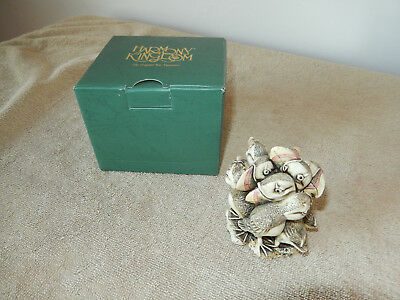 Retired Signed Harmony Kingdom In Fine Feather Puffins Trinket Box with Box