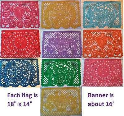 Mexican Traditional Papel Picado Cutout Flags Bunting 14x11, Paper