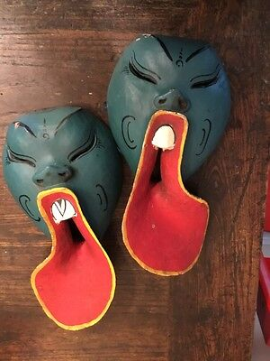 Vintage/ Antique Blue Face, Red Tongue Mask Hand Carved & Painted Wood