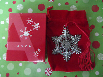 Avon 2017 Snowflake Pewter Ornament New In Box With Free Fast Shipping
