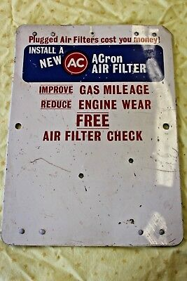 """Vintage AC Air Filter Advertising Sign 11 1/2""""x8 1/2"""" 4 magnets"""