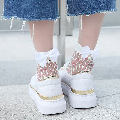 Women Ruffle Fishnet Ankle High Socks Mesh Lace Fish Net Short Socks