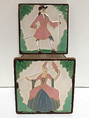 2 American Encaustic Tiles AETCO Colonial Man Woman Matte Brown Dry Line Thick F