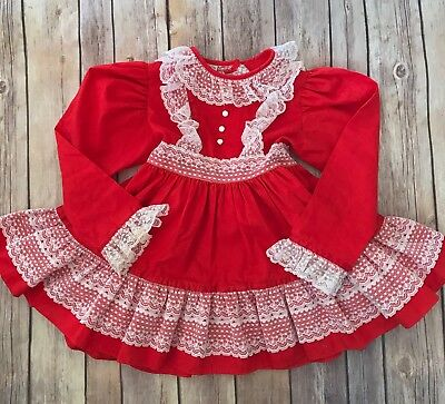 Vintage Mini World 2/3 Red Dress White Lace Long Sleeve Ruffles Party