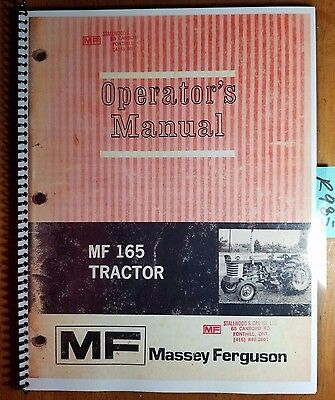 Massey Ferguson MF 165 Tractor Owner's Operator's Manual 1448 078 M3 8/72