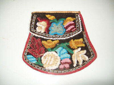 Antique Beaded Purse Pouch Bag Native American Indian Iroquois 1860 2 Flap Great