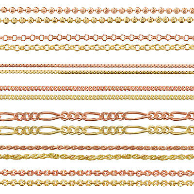 9Ct Gold Plated 925 Sterling Silver Ball Belcher Curb Trace Chain Many Lengths