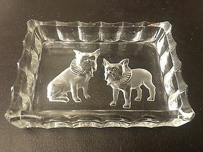 Vintage Glass Pin Dish depicting 2 Boston Terriers with Frilled Collars