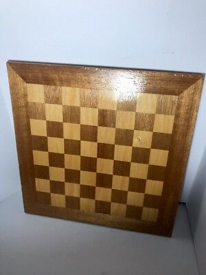 Antique Folk Art Inlay Wood Checker Game Board Chess American Vintage Lacquered
