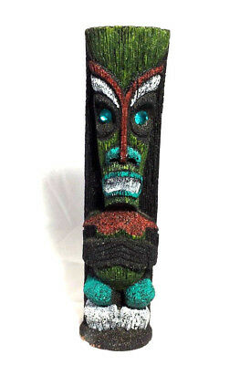 Vintage Hand Carved Painted COCO JOE Lava Tiki God Totem Blue Eyes Hawaii Figure