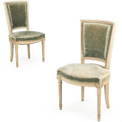 Vintage Pair of French Louis XVI Style Worn Green Velvet Side Chairs c. 1940's