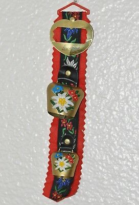 Vintage Metal Bells Cow Bell Hand Painted Embroidered Strap w/Buckle