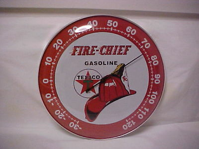 """Texaco Fire Chief Round 12"""" Glass Front Thermometer"""