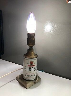 Antique OLD Vintage Burger Beer Cone Top Beer Can turned into lamp
