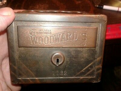 Antique A.W. Williams & Co, Woodward's Advertising Money Bank