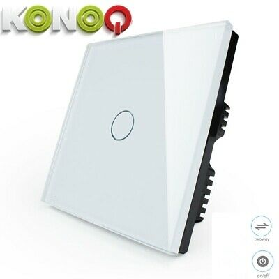 'KONOQ+ Luxury Glass Panel Touch LED Light Smart Switch ON/OFF, White,1Gang/2Way