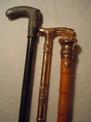Antique collection of 3 walking stick s, cane ,Civil War ,& two gold ,Fantastic