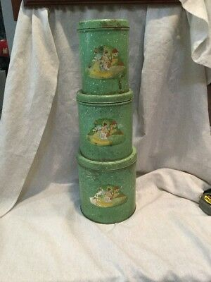 VINTAGE 1940's TIN METAL KITCHEN 3 PC GREEN CANISTER SET   PRICE LOWERED!!